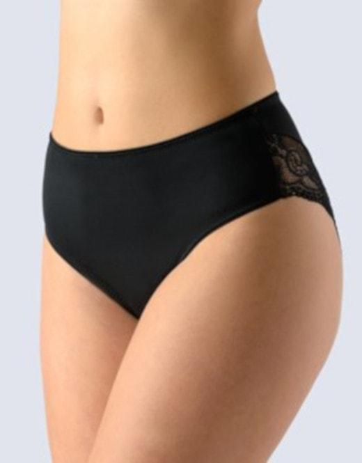 GINA dámské kalhotky klasické vyšší bok, šité, s krajkou, La Femme 2 10205P - černá