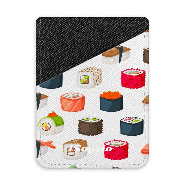 Pouzdro na kreditní karty iSaprio - Sushi Pattern - tmavá nalepovací kapsa