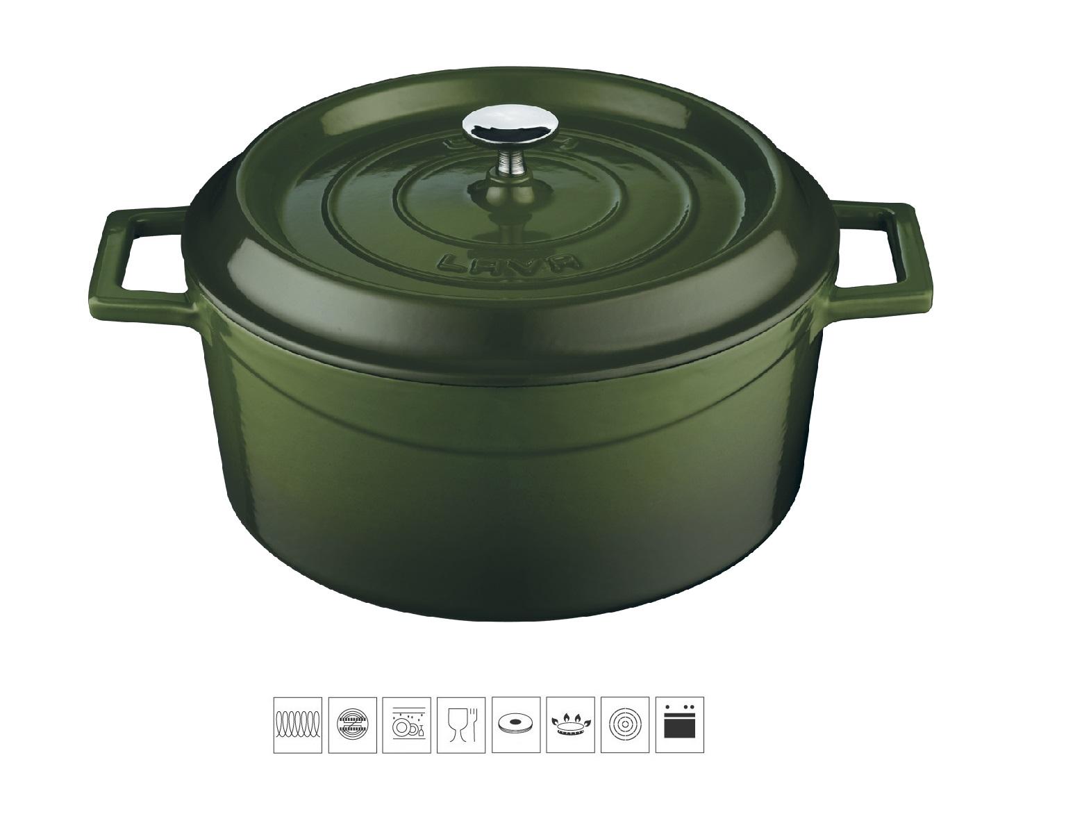Litinový hrnec kulatý 20 cm - zelený
