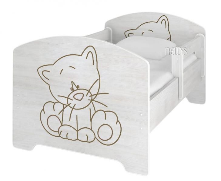 NELLYS Dětská postel Kočička v barvě norské borovice + matrace zdarma - 140x70