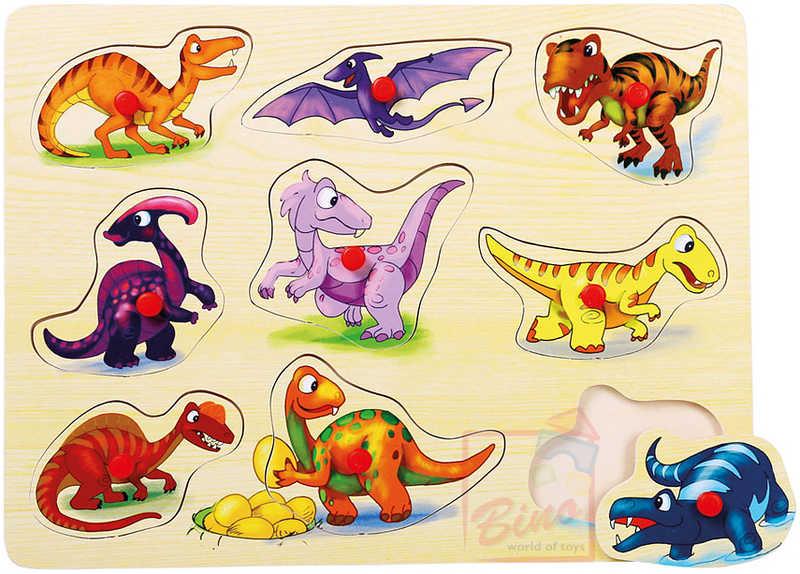 BINO DŘEVO Puzzle na desce Dinosauři * DŘEVĚNÉ HRAČKY *