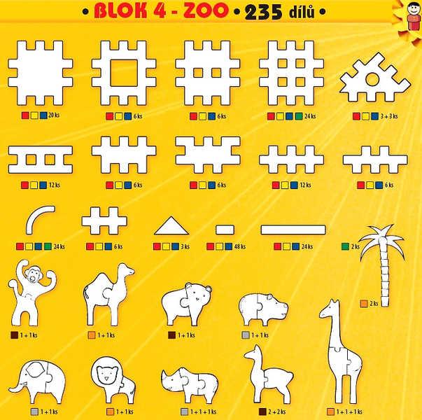 SEVA BLOK 4 Zoo plastová STAVEBNICE 235 dílků