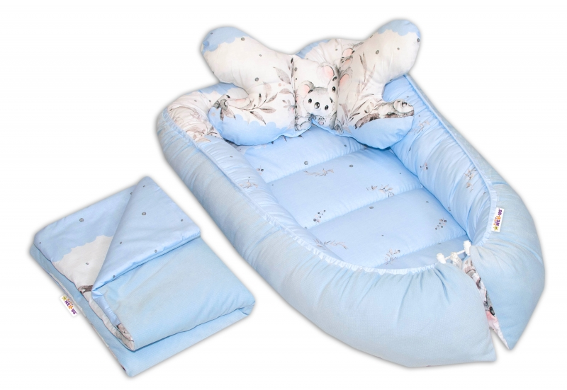 Sada komplet, oboustranné hnízdečko Baby Nellys Velvet, 55 x 85 cm, Medvídek Koala - modré