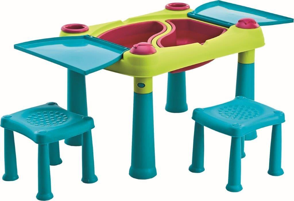 Dětský stolek Keter se dvěma stoličkami tyrkysový / zelený