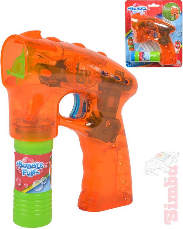 SIMBA Bublifuk pistole oranžová 17cm set s náplní 55ml na baterie Světlo