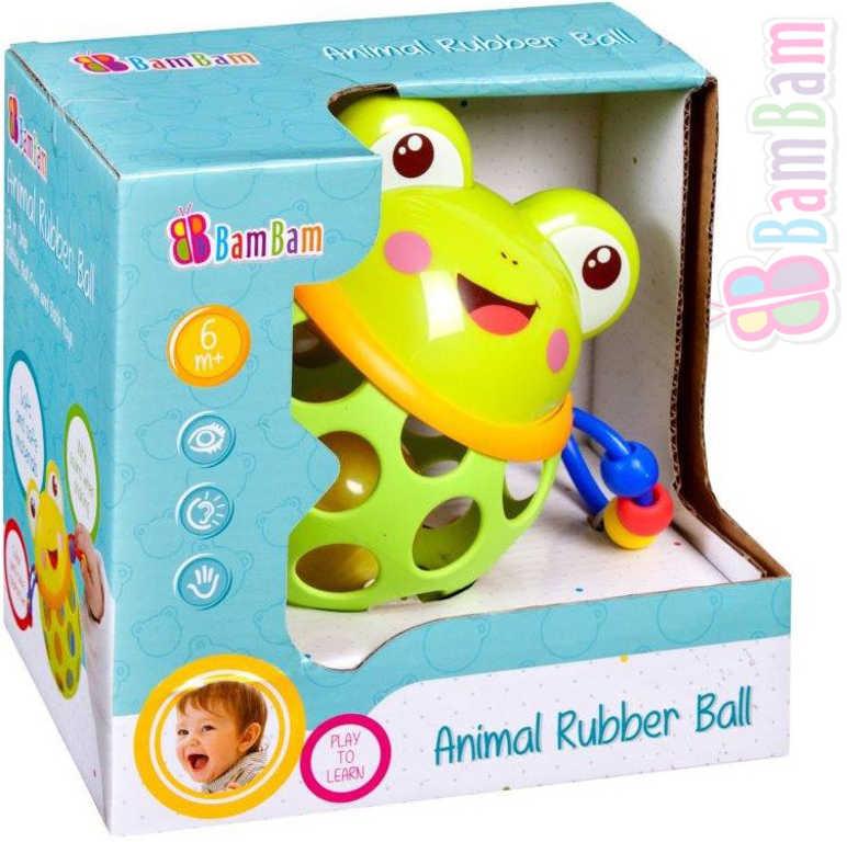 ET BAM BAM Baby Koule gumová žabka s chrastítkem pro miminko