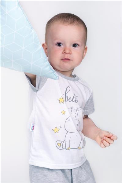 Dětské letní pyžamko New Baby Hello s hrošíkem bílo-šedé - šedá/74 (6-9m)