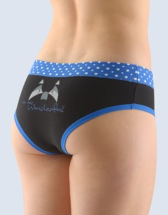 GINA dámské kalhotky francouzské, šité, bokové, s potiskem Funny 4 collection 14137P - atlantic černá