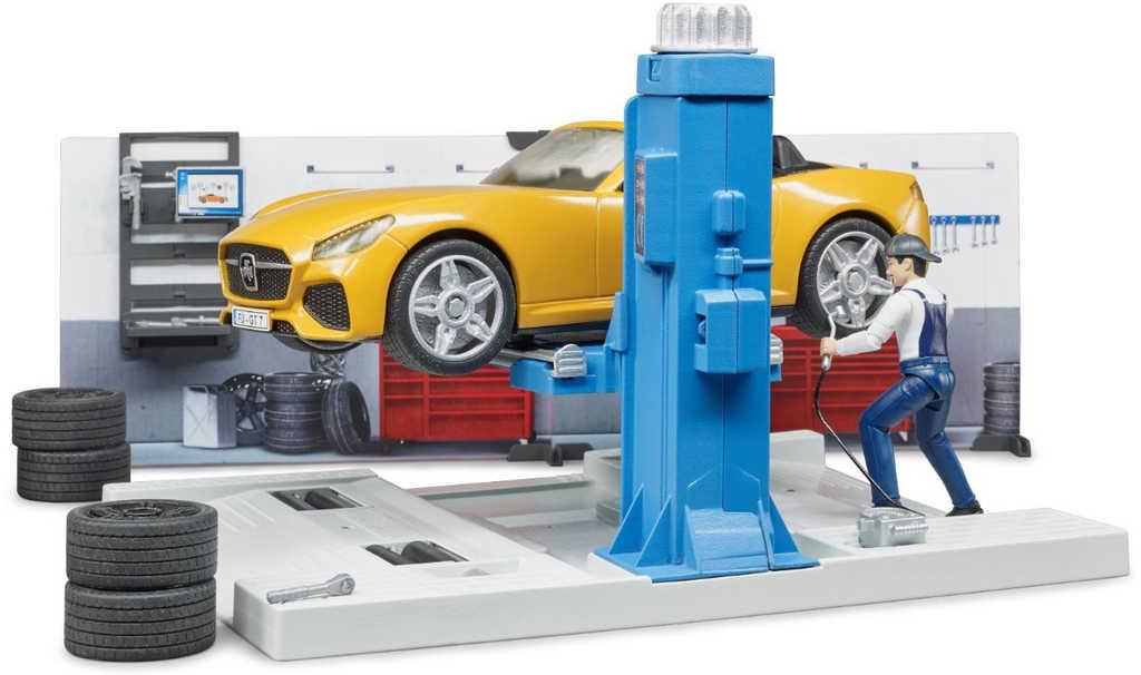 BRUDER 62110 BWORLD Autodílna herní set s mechanikem a autem