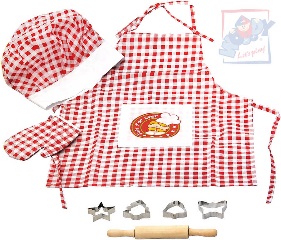 WOODY Kuchyňský set dětský Mistr Šéfkuchař pečení kuchařský oděv s nástroji