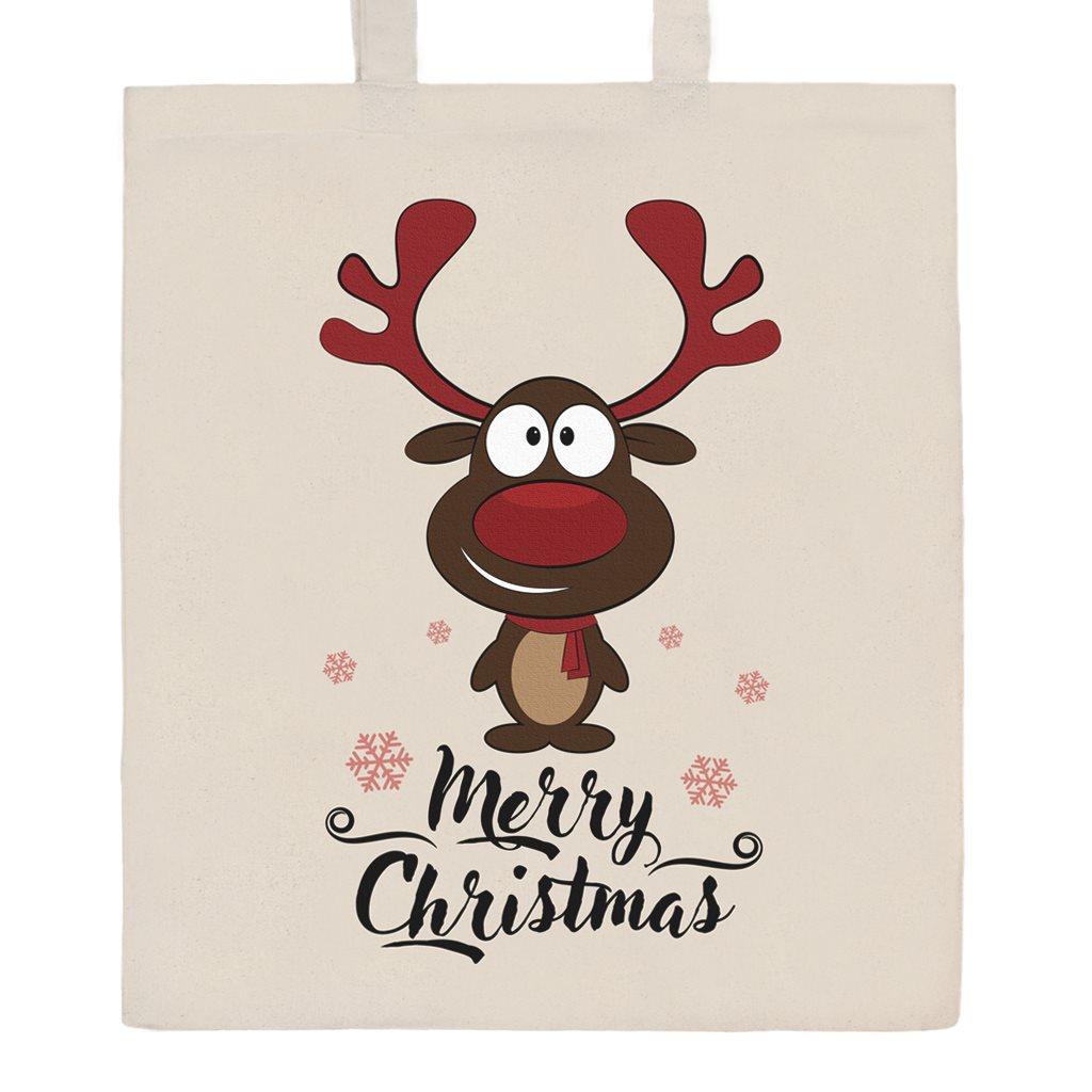 Bavlněná nákupní taška s potiskem New Baby Merry Christmas - přírodní