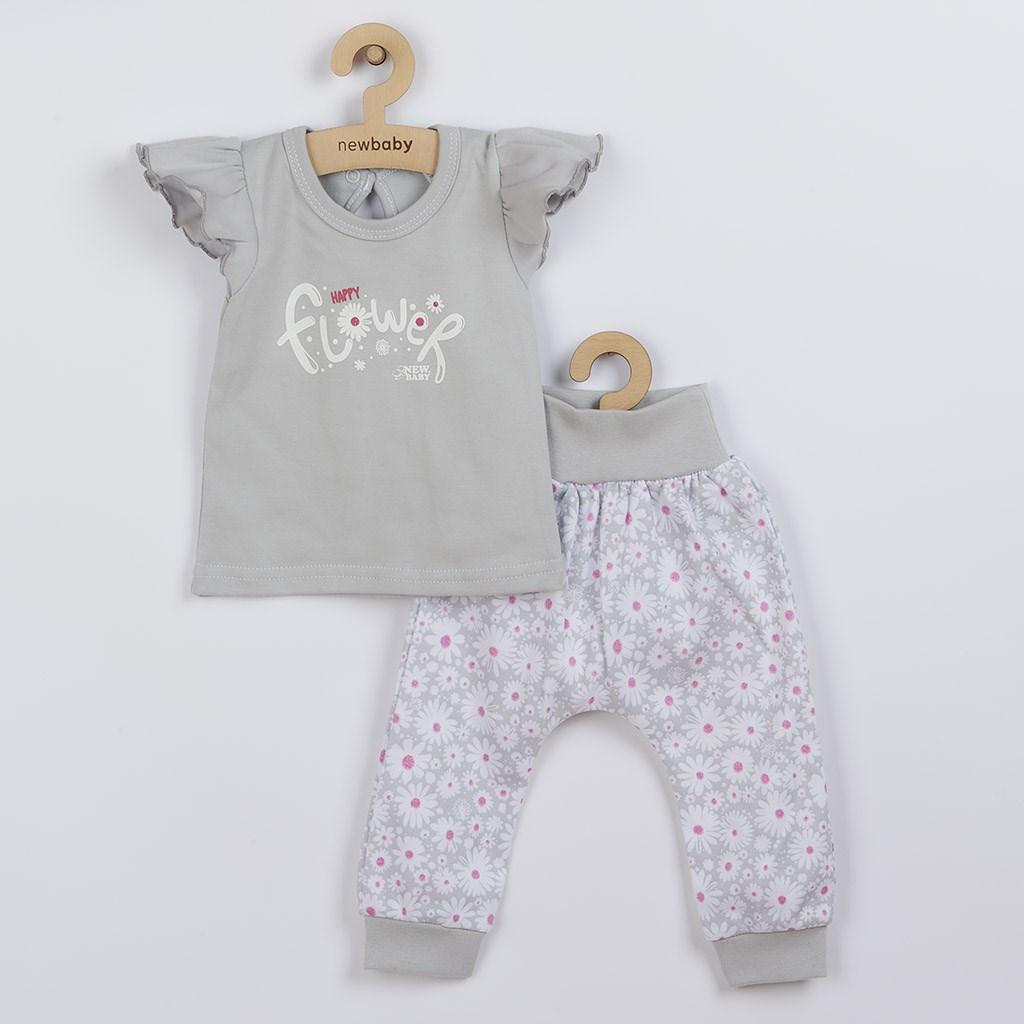 2-dílná kojenecká bavlněná souprava New Baby Happy Flower - šedá/56 (0-3m)