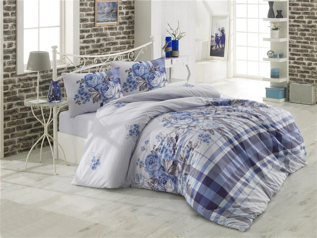 Povlečení francouzské bavlna 220x220, 70x90 Evelina modrá Skladem 2ks, Výběr zapínání: zipový uzávěr