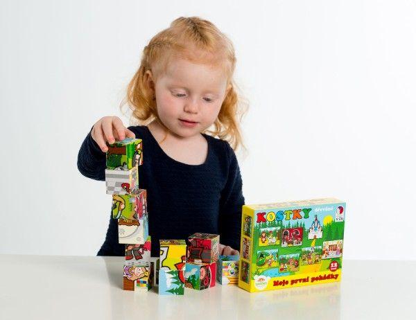 Kostky kubus dřevěné Moje první pohádky 12 ks v krabičce