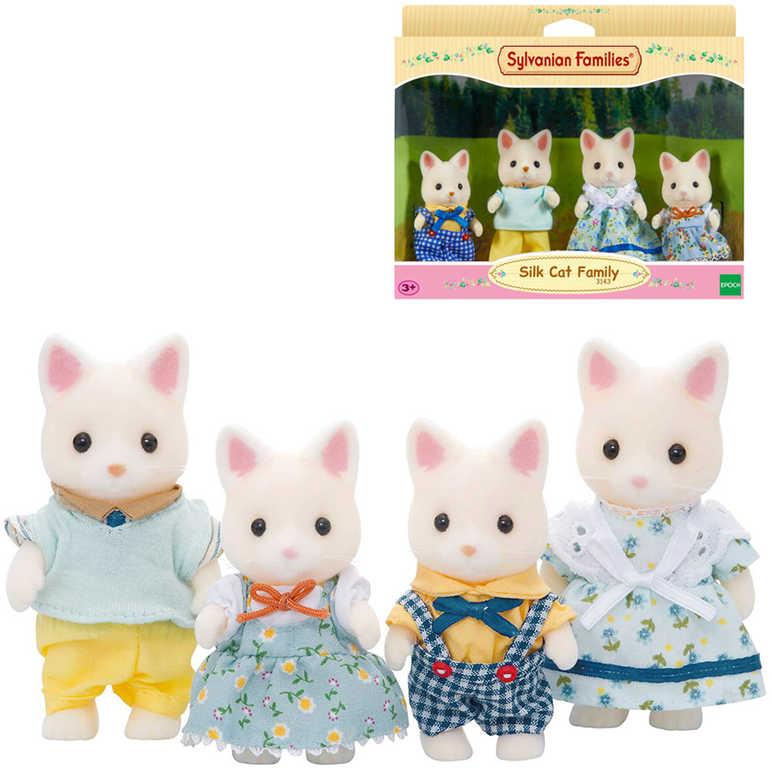 Sylvanian Families rodina hedvábných kočiček set 4 figurky kočičí rodinka v krabici