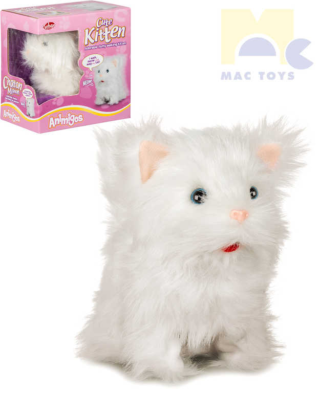 MAC TOYS Kočka chodící bílá na baterie Zvuk PLYŠ