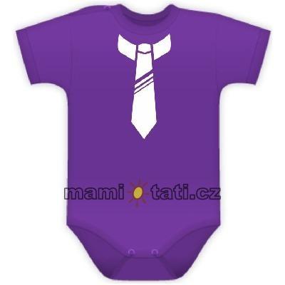 baby-dejna-body-kr-rukavek-s-potiskem-kravaty-fialove-74-6-9m