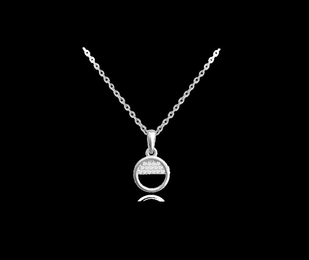 Půlkruhový stříbrný náhrdelník s bílými zirkony