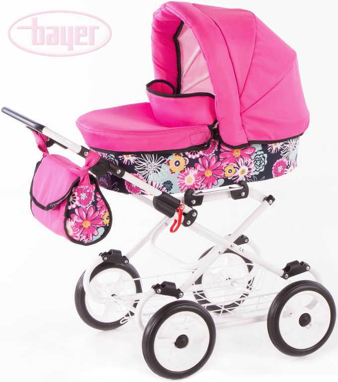 BAYER Kočárek dětský hluboký VIVA FLOWER pro panenku miminko