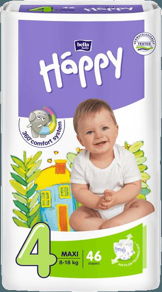 Happy Maxi 4 pleny, 8-18 kg 46 ks