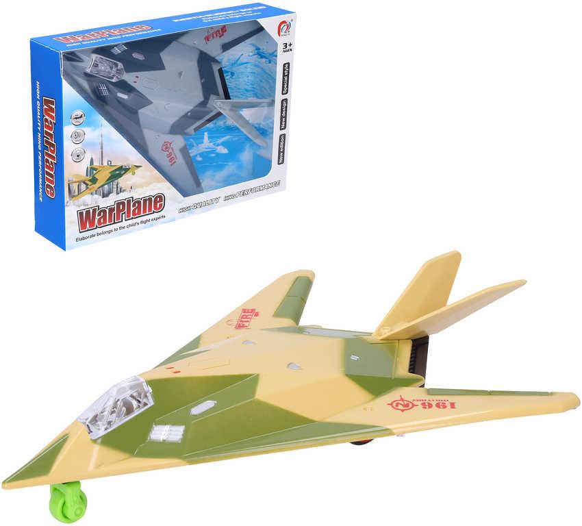 Letadlo vojenské 25cm stíhačka na baterie Světlo Zvuk různé barvy