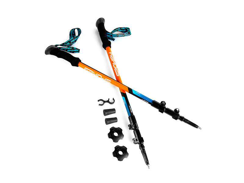 ZION Trekingové hole 3-dílné, modro-oranžové-modro-oranzove