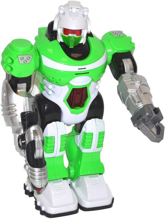 Robot android plastový 25cm na baterie Světlo Zvuk 4 barvy