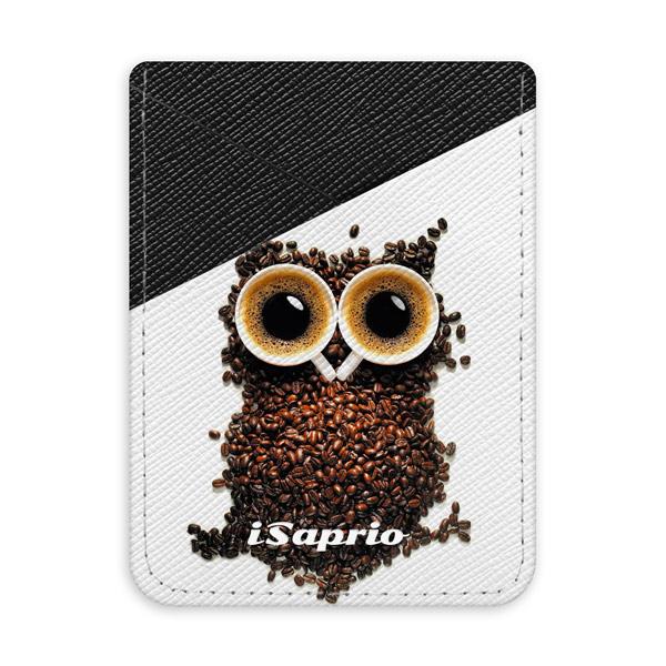 Pouzdro na kreditní karty iSaprio - Owl and Coffee - tmavá nalepovací kapsa