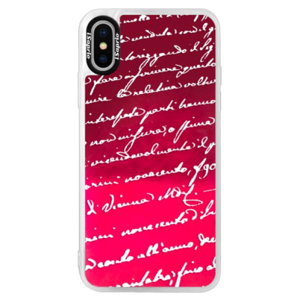 Neonové pouzdro Pink iSaprio - Handwriting 01 - white - iPhone X