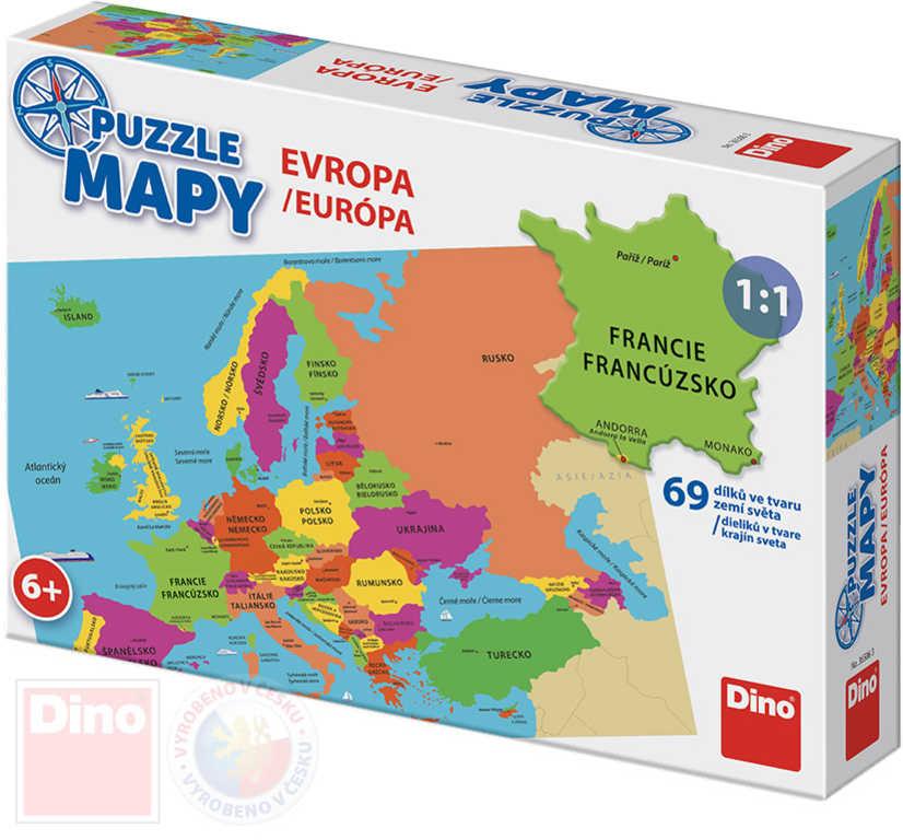DINO Puzzle Mapa Evropy 69 dílků státy a hlavní města 66x47cm skládačka