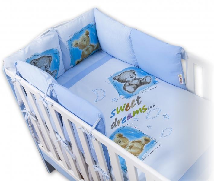 Povlečení s polštářkovým mantinelem Sweet Dreams by TEDDY - modrý - 140x70