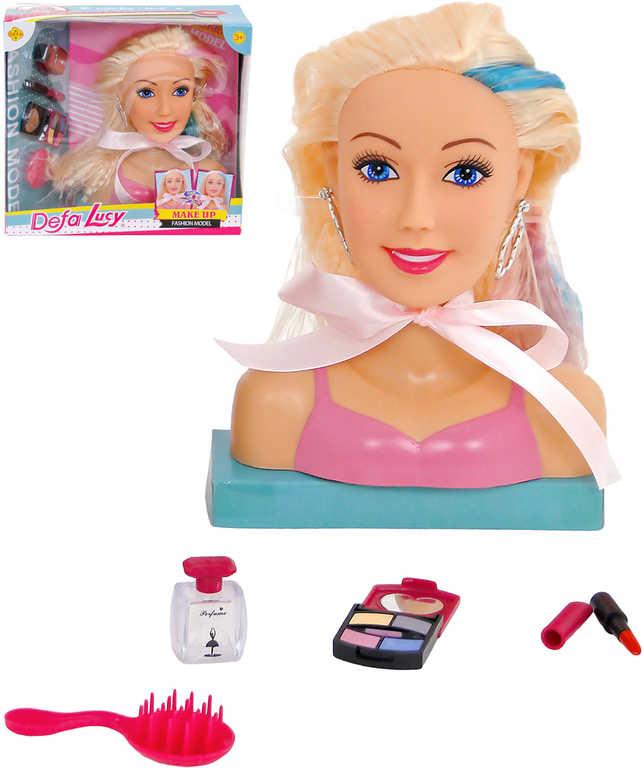 Defa Lucy hlava česací kadeřnický set s doplňky blondýnka dlouhé vlasy