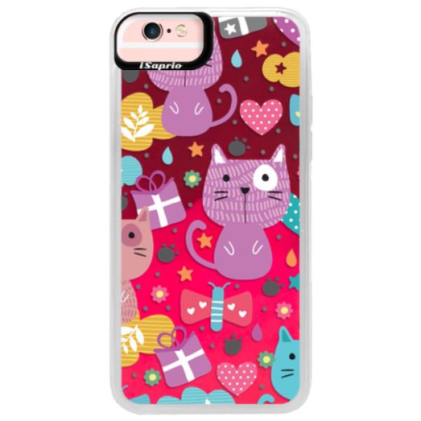 Neonové pouzdro Pink iSaprio - Cat pattern 01 - iPhone 6/6S