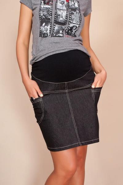 Be MaaMaa Těhotenské sukně JEANS s kapsami - černá - XS (32-34)