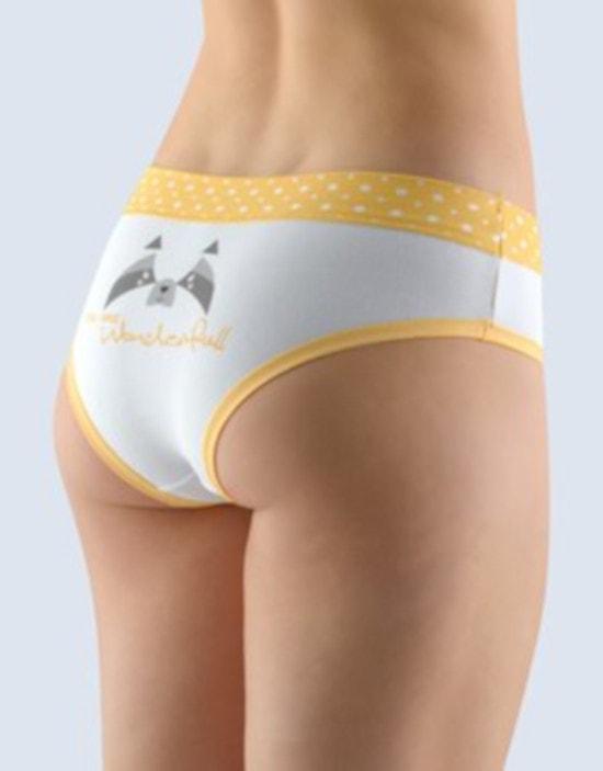 GINA dámské kalhotky francouzské, šité, bokové, s potiskem Funny 4 collection 14137P - angreštová bílá