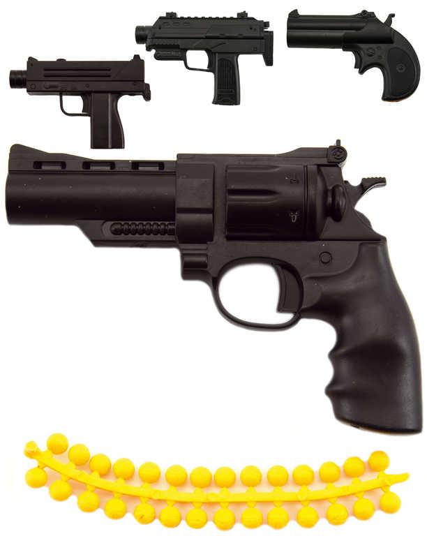 Pistole dětská 11cm na měkké kuličky set se soft náboji v krabici 4 druhy
