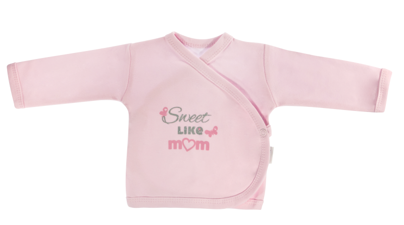 Novorozenecká košilka Motýlek srdíčko - zapínání bokem, růžová, Sweet like mum - 56 (1-2m)