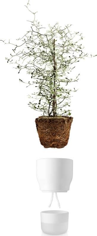 Samozavlažovací květináč křídově bílý v.18cm, 568147 eva solo