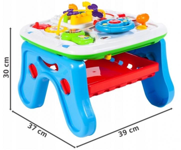 Tulimi Interaktivní stoleček s mazací tabulkou, modrý