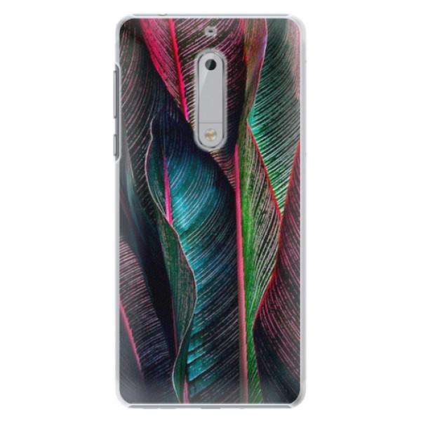 Plastové pouzdro iSaprio - Black Leaves - Nokia 5