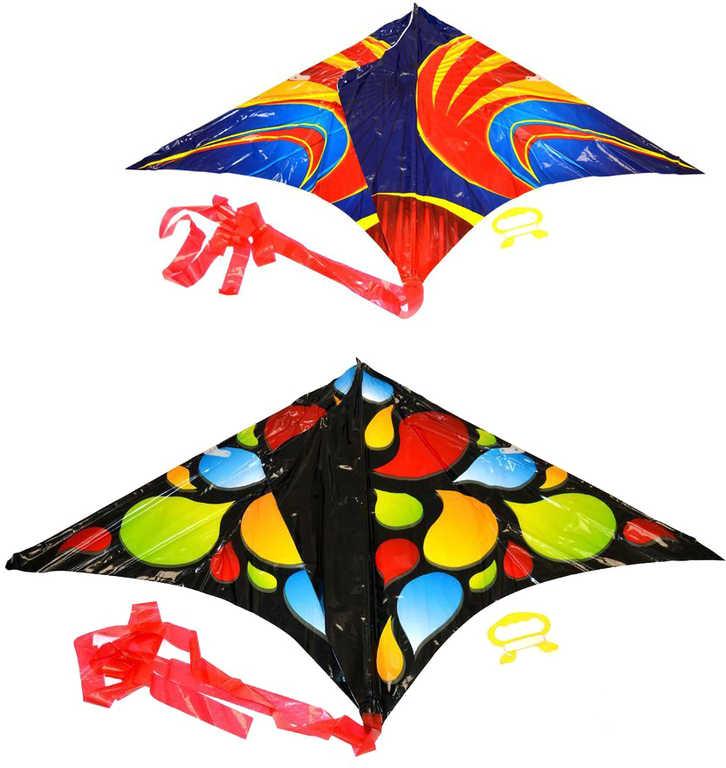 Drak létající nylonový 61x114cm s potiskem 2 druhy v sáčku
