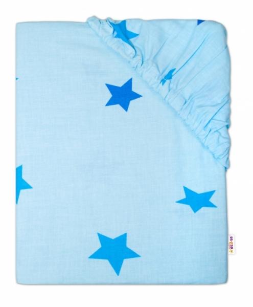 Baby Nellys Dětské bavlněné prostěradlo do ohrádky, 90x90cm - Hvězdičky modré - 90x90