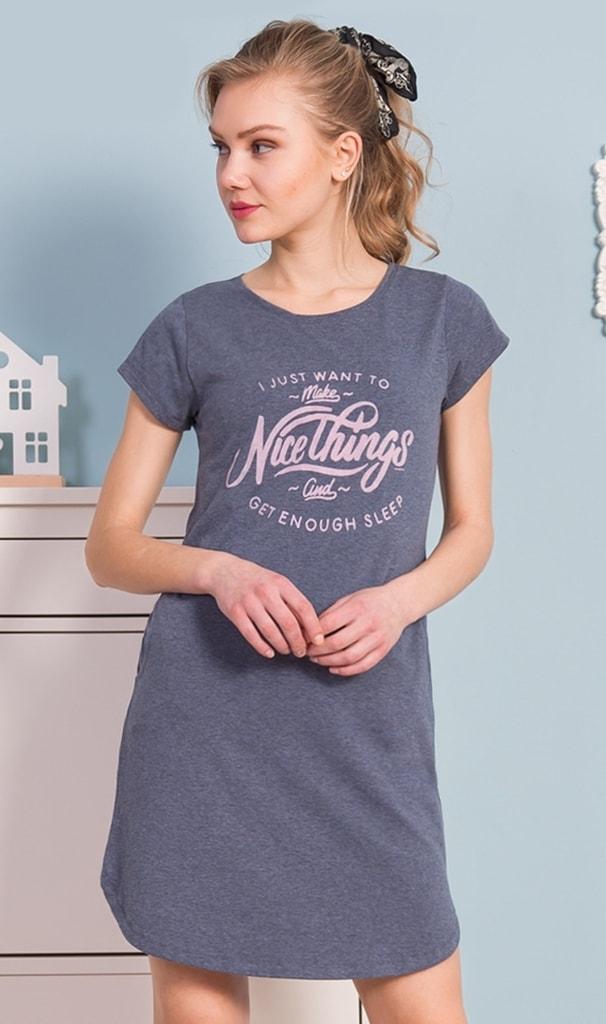 Dámské domácí šaty s krátkým rukávem Nice things - modrá - S