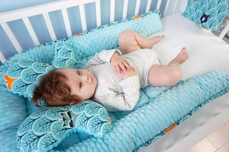 Baby Nellys Sada komplet - oboustranné hnízdečko, kokon minky 60x90cm - Listy, minky šedá