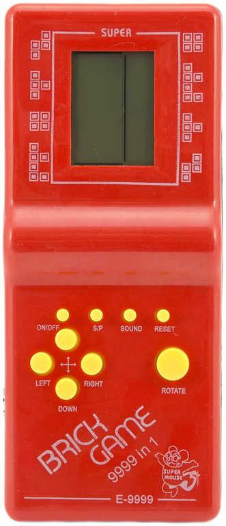 Hra digitální Tetris Brick Game hlavolam na baterie různé barvy plast