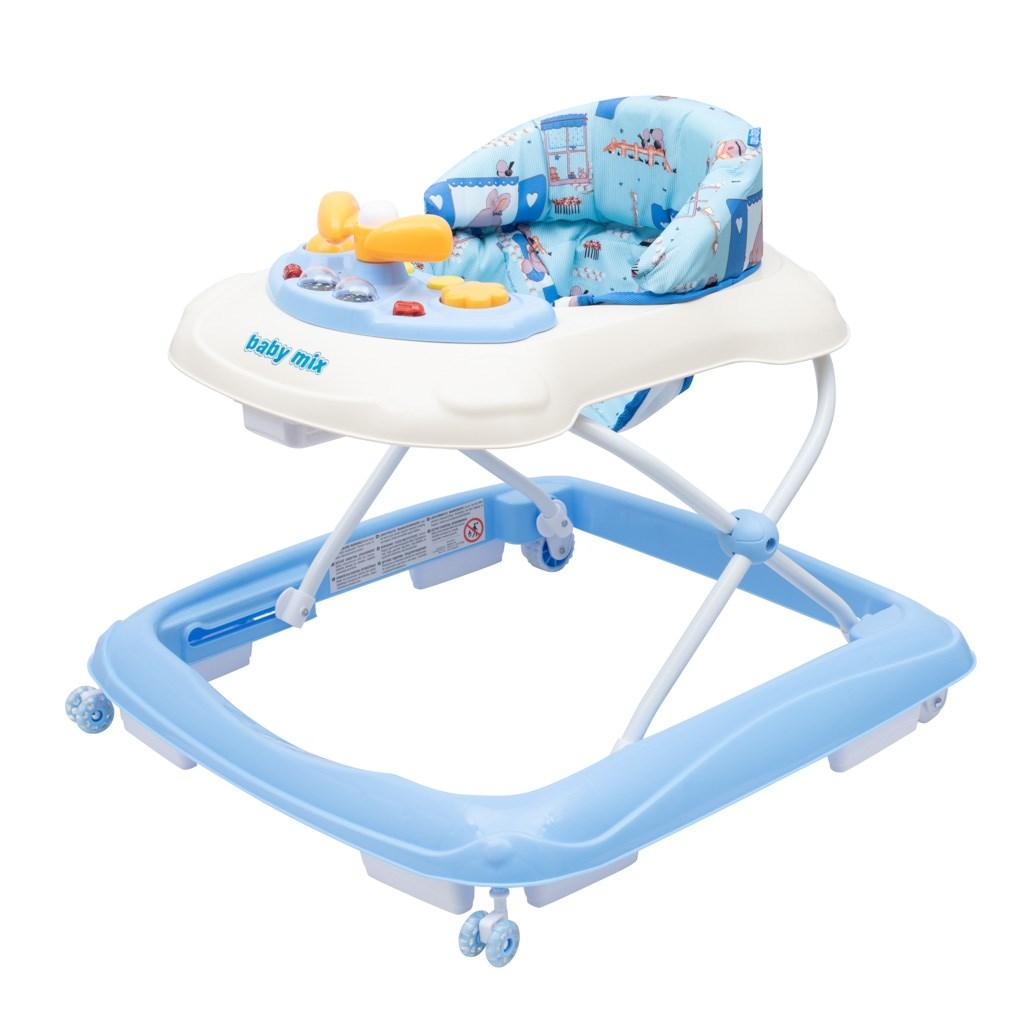 Dětské chodítko Baby Mix s volantem a silikonovými kolečky - modrá