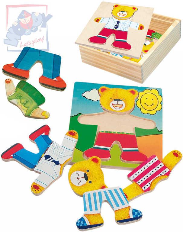 WOODY DŘEVO Puzzle šatní skříň medvídek *DŘEVĚNÉ HRAČKY*