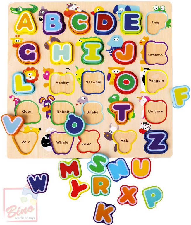 BINO DŘEVO Baby abeceda anglická se zvířátky vkládací písmenka na desce