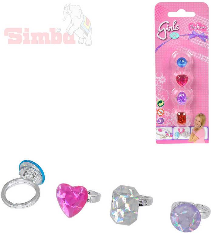 SIMBA Prstýnek s diamantem set 4ks různé druhy dětská bižuterie na kartě