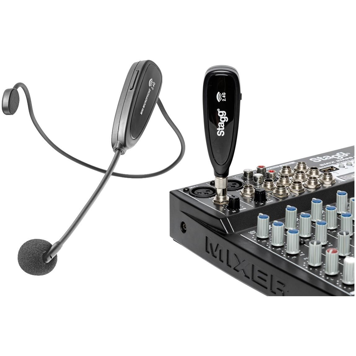 Stagg SUW 12H-BK, bezdrátový náhlavní mikrofonní set 2,4 GHz UHF